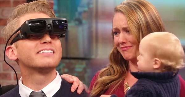 ชมวินาทีซึ้งใจ หนุ่มพิการสายตาได้เห็นหน้าภรรยาครั้งแรกในชีวิต กับคำแรกที่เอ่ยต่อเธอ
