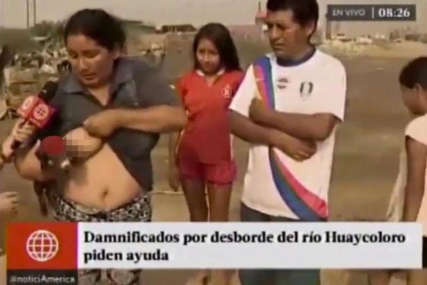 นักข่าวถึงอึ้ง! หญิงเปรูถลกเสื้อให้นมหมู สะท้อนปัญหาเดือดร้อน ขณะทีวีถ่ายทอดสด